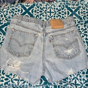 Levi's vintage distressed high waisted shorts.